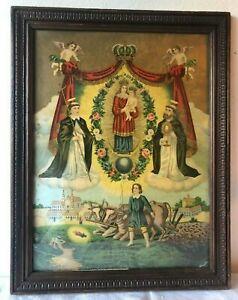 Antica stampa religiosa con cornice/Madonna della Consolazione - arte sacra