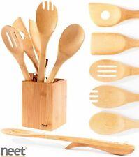Utensils Bamboo Cooking Organic Serving Elevated 6 Set Neet Wooden Piece Kitchen