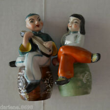 Occupied Japan Handpainted Japanese Man & Woman Decorative Collator Figurines
