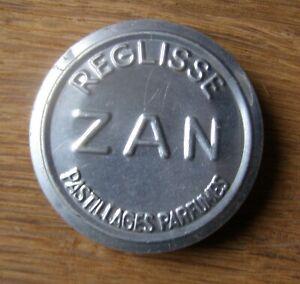 jolie boîte en aluminium publicitaire de REGLISSE ZAN pastillages parfumés