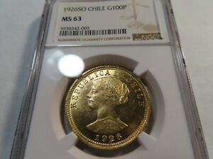 U10 Chile 1926-SO GOLD 100 Pesos NGC MS-63