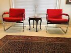 Mid Century Modern Cantilever Lounge Chairs by Milo Baughman Red   A Pair