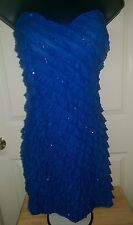 Body Central NWT Womens Blue With Sequin Layered Mini Sexy Dress Size S