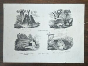 Brodtmann / d'Urville Lithograph 1836 Huts of Jervis Bay, Albany, Stream Bay Ast