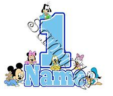IRON ON TRANSFER PERSONALISED birthday ANY NAME NUMBER BABY MICKEY MINNIE MOUSE