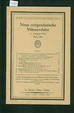 Neue zeitgenössische Männerchöre a capella 1925 Schott Partituren-Katalog No. 4