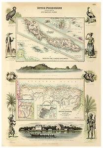 The Guianas Surinam Curaçao Caribbean Sea illustrated map Fullarton ca.1872
