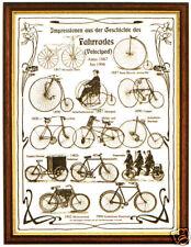 Plakat: Geschichte Fahrrad Velociped Hochrad Fahrräder