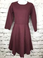 NWT Lulu's Fit and Flare Skater Dress Red Maroon Scalloped 3/4 Sleeve Size Large