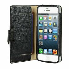 Melkco Premium Leather Wallet Case for Apple iPhone 5S/5 Tera Cotto Black H1576