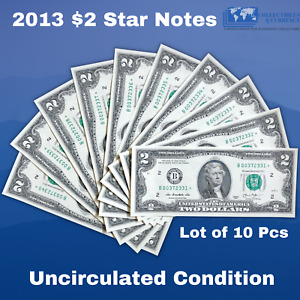 ✯10 Consecutive Star Notes Uncriculated 2013 FRN $2 - Two Dollar Bill Lucky Note