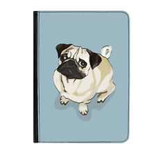 """Pug Dog Blue Puppy Life Funny Universal 9-10.1"""" Leather Flip Case Cover"""