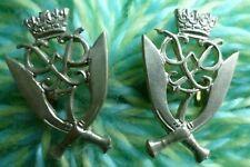 7th Gurkha Rifles COLLAR Badge White Metal 2 Lugs - PAIR