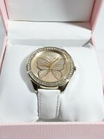 GUESS Womens Large Butterfly Crystal Watch #U85047L3 Leather Band EUC