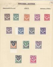 NORTHERN RHODESIA COLLECTION. 1953 ELIZABETH DEFINITIVES SET OF 14.