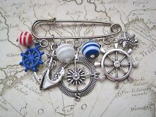 NAUTICAL SAFETY PIN CHARM BROOCH Anchor Wheel Stripe Bead Blue Red White Compass