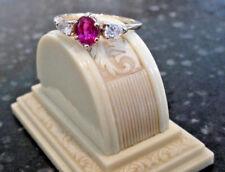 Vintage No Heat Reddish Pink Sapphire Ruby Diamond Ring AGL Certified