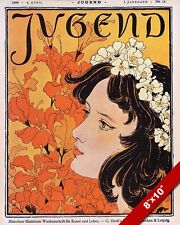 JUGEND YOUTH GERMAN MAGAZINE COVER 1896 YOUNG WOMAN PAINTING ART CANVAS PRINT