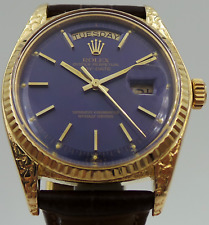 "Rolex Day-Date 1803 18K Yellow Gold Rare Matte ""Blue Jeans"" Dial circa 1979"