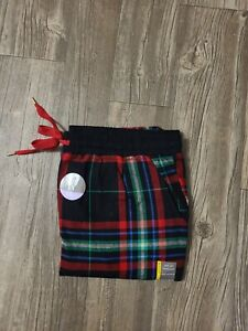 BLACK RED BLUE PLAID GOLD TRIM SOFT FLANNEL JOGGER PANTS LARGE (SIZE S - 2XL)
