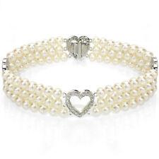 Pearl Bracelet 14k White Gold Heart Shape Divider 4-5mm Freshwater White Pearl