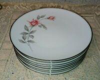 """8 Noritake 6044 Rosemarie 10.5"""" Dinner Plates Pink Gray Rose Platinum 1959+  EXC"""