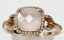 14k Rose Gold Pink Quartz & Diamond Ring ( Dia 0.26cts )