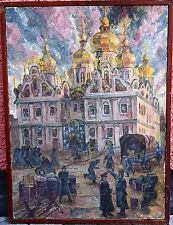 Soviet Painting, oil on canvas - German soldiers extinguish a fire in the Temple