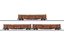 "MÄRKLIN H0 47047 Set de vagones plataforma con teleros la DB AG carga Madera"""