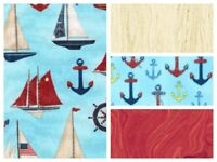 Cotton Quilting Sewing Fabric Nautical 4 Pack Fat Quarters