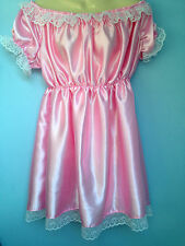french maid dress cosplay sissy adult baby pink satin fetish slave 8-24 cd tv