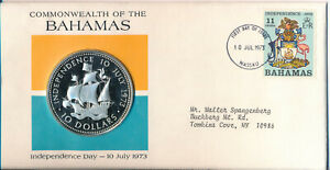 BAHAMAS 1973 $10 INDEPENDENCE DAY COMMEMORATIVE SILVER COIN **GEM PROOF**