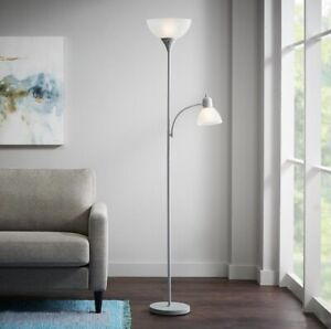 Hampton Bay 71.5 in. Silver Mother/Daughter Floor Lamp