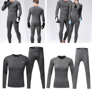 Women Men Thermal Underwear Long Sleeve Shirt Top & Bottom Set for Skiing