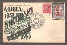 POSTCARD POLAND POLISH FORCES IN GREAT BRITAIN 04/06/1944 SIKORSKI