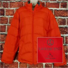 Lands End Women Puffer Coat Size L Large 14-16 Orange Down Fill Winter Jacket