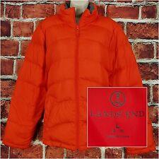 Lands End Women Puffer Coat Size L Large 14-16 Orange Down Fill Winter Jacket