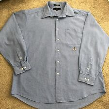 Vintage Men's Tommy Hilfiger Blue Checked Long Sleeved Shirt Crest Logo Size XL