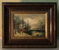 Kleines Ölgemälde 13x18 Hafenszene impressionistisch signiert