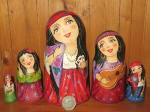 Matryoshka GYPSY GIRLS Slight Seconds Russian Nesting Dolls ZENINA