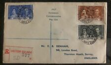1937 British Guiana King George VI Coronation FDC First Day Cover KGVI To Englan