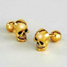 SKULL CUFFLINKS Heavy Well Made Gold Plate NEW w GIFT BAG Skeleton Fixed Back