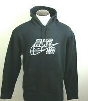 Nike SB Mens Plaid Logo Pullover Hoodie Sweatshirt Black White Size Large NWT