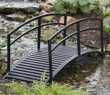 Outdoor Garden Bridge Metal 6ft Backyard Decor Walkway Black Pond Arch Yard New