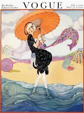 Vintage Mag Cover on silk VOGUE Lady in Swim Costume at the beach July 1919