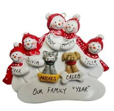 Personalized Snowman Family of 5 with 2 Dogs or Cats Christmas Ornament