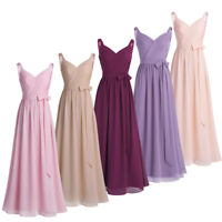 Womens V-Neck Chiffon Bridesmaid Evening Prom Ball Gown Tulle Pleated Long Dress