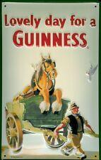Blechschild Guinness Bier Lovely day for a Guinness Pferd Fuhrwerk retro Schild