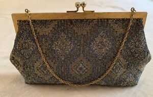 Vintage JOSEPH Hand beaded Bag MADE in France Gold Strap Bag Clutch Evening