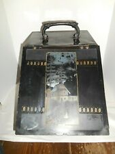 Antique Metal Coal Scuttle Fire Place Wood Stove Ash Bin Painted Scene Branded